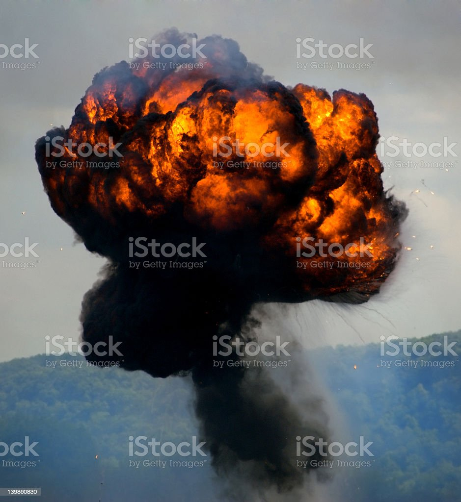 Massive Round Explosion stock photo