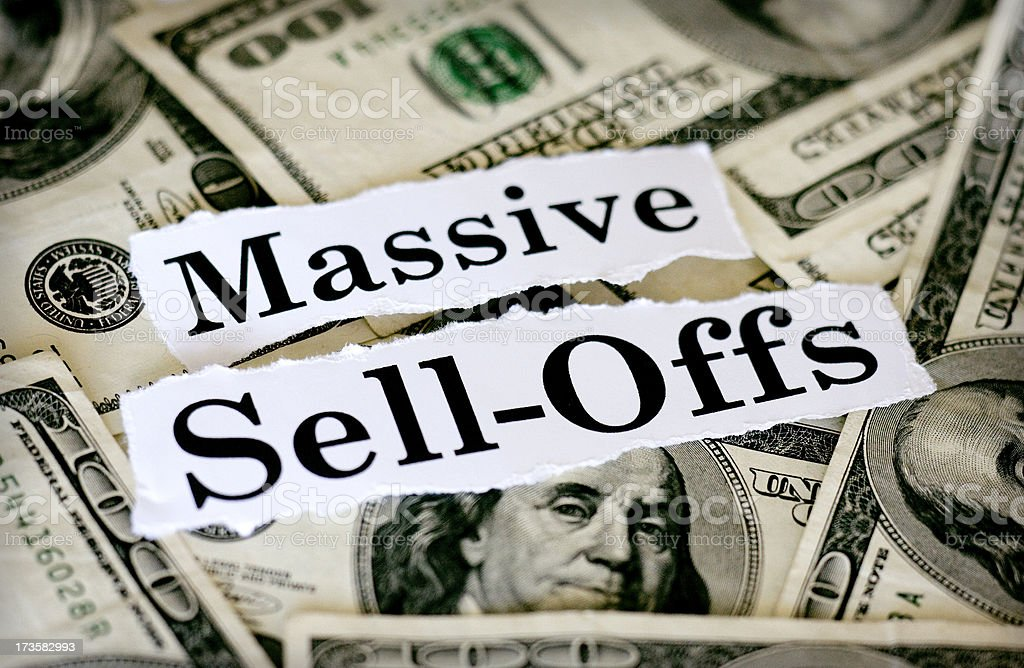 massive sell-offs stock photo