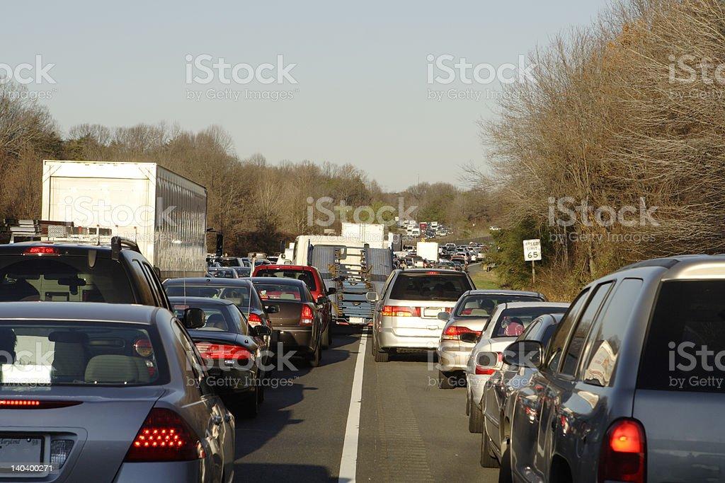 Massive Traffic Jam I-95 Winter Time Cars Trucks on Shoulder stock photo