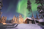 Massive vibrant Aurora Borealis Northern Lights in Lapland, Norway