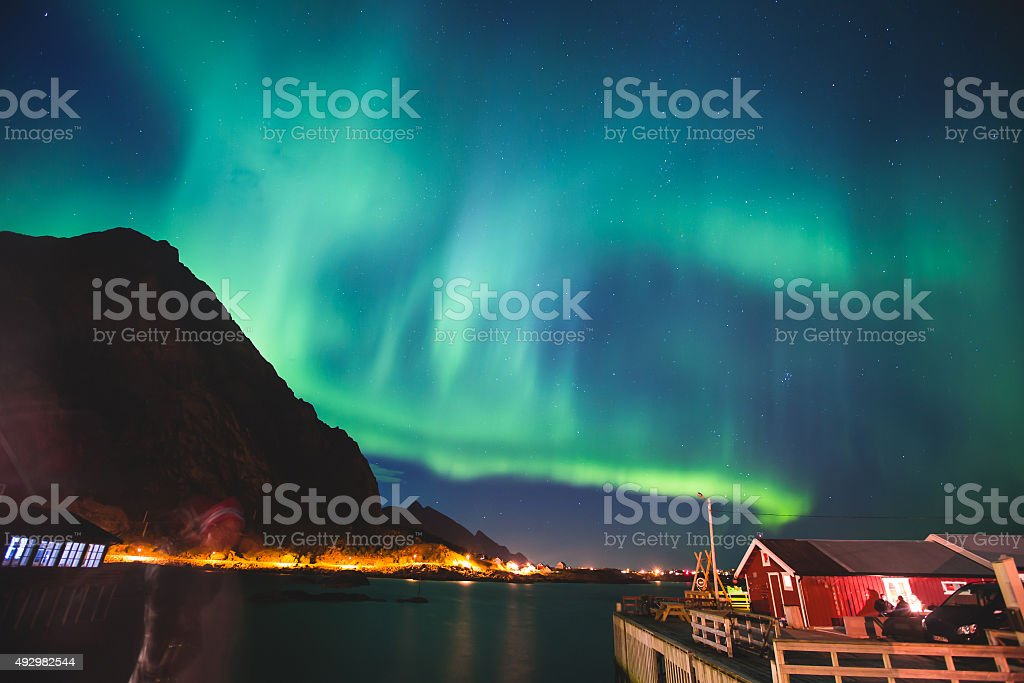 Massive vibrant Aurora Borealism Northern Lights in Norway, Lofoten Islands stock photo