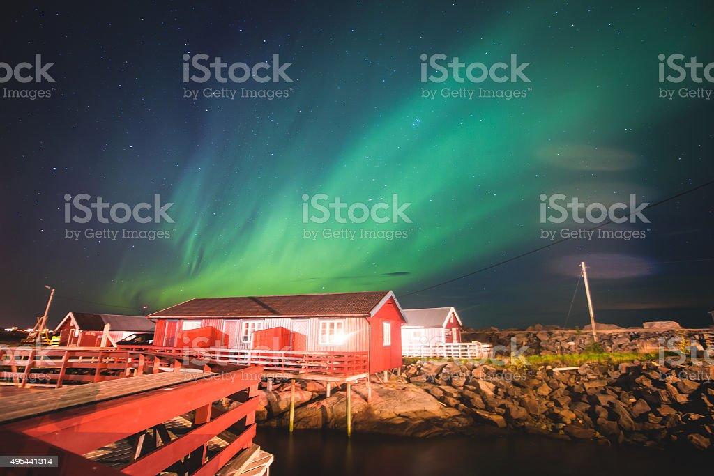 Massive vibrant Aurora Borealism Northern Lights in Norway, Lofoten Islands stock photo