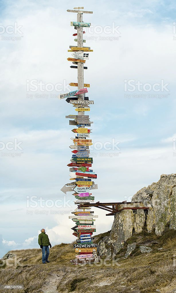 Massive World Signpost Directions from Falkland Islands -Stanley stock photo