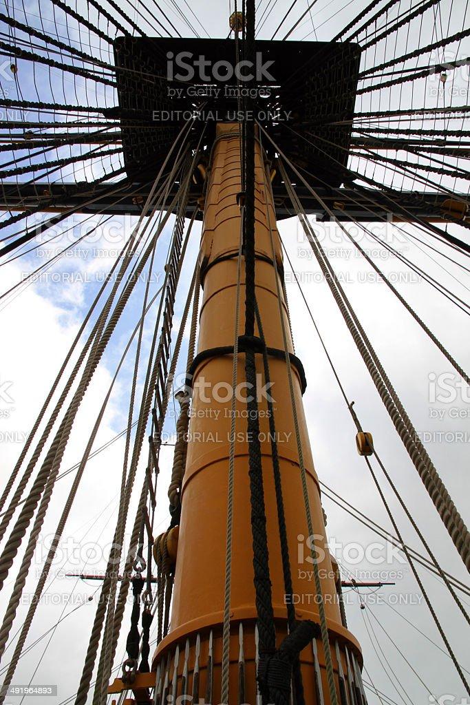 Mast and Ropes stock photo
