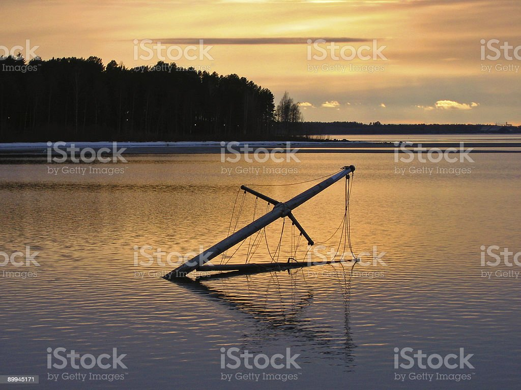 Mast of a drowned ship stock photo