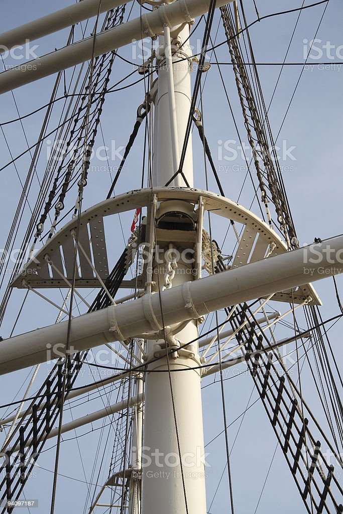 Mast of a sailing ship stock photo