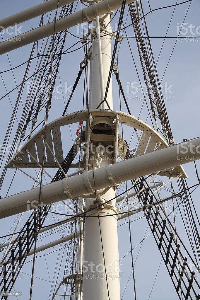 Mast of a sailing ship stock photo