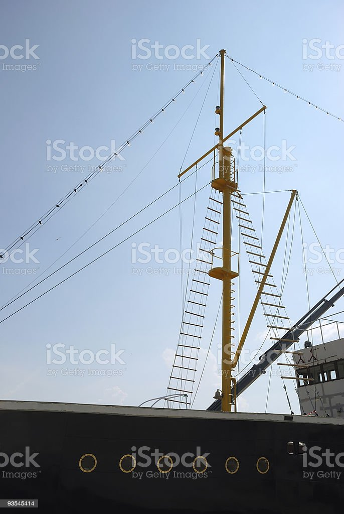 Mast of Old Historical Ship in Port stock photo