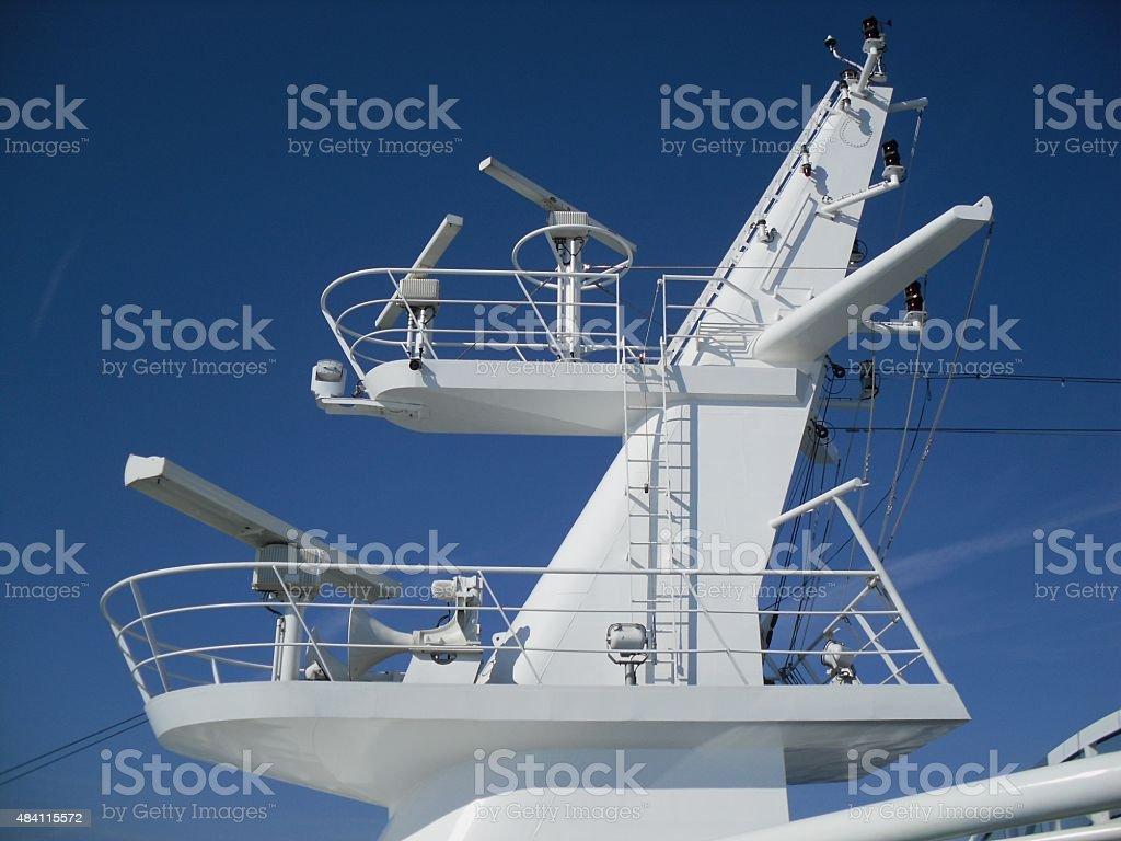 Mast on a ship stock photo