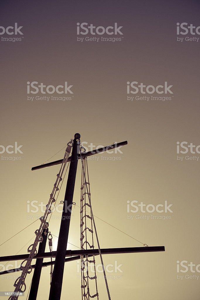 Mast on red sky stock photo