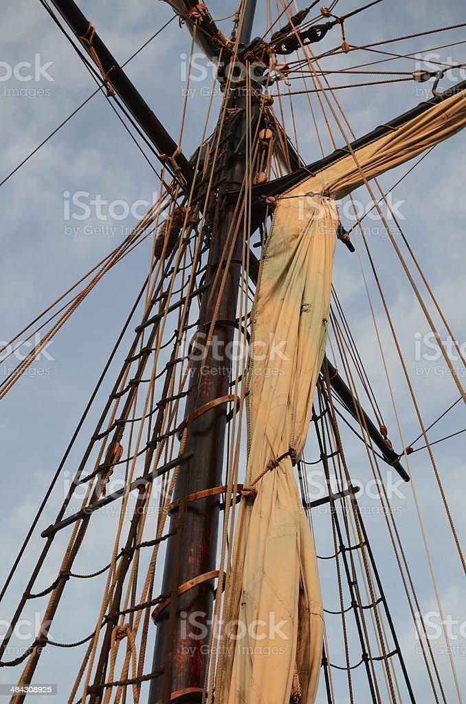 mast, rigging, and sail royalty-free stock photo