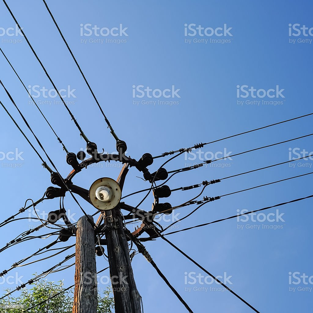 Mast with distribution of electricity in Dubrovnik stock photo