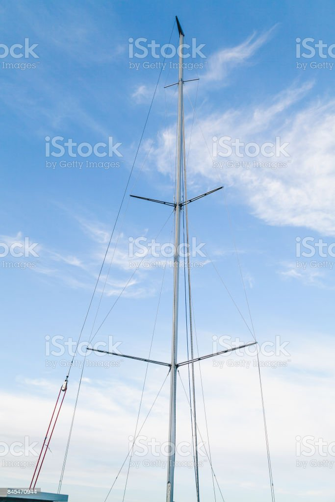 Mast yacht in the background of the sky stock photo