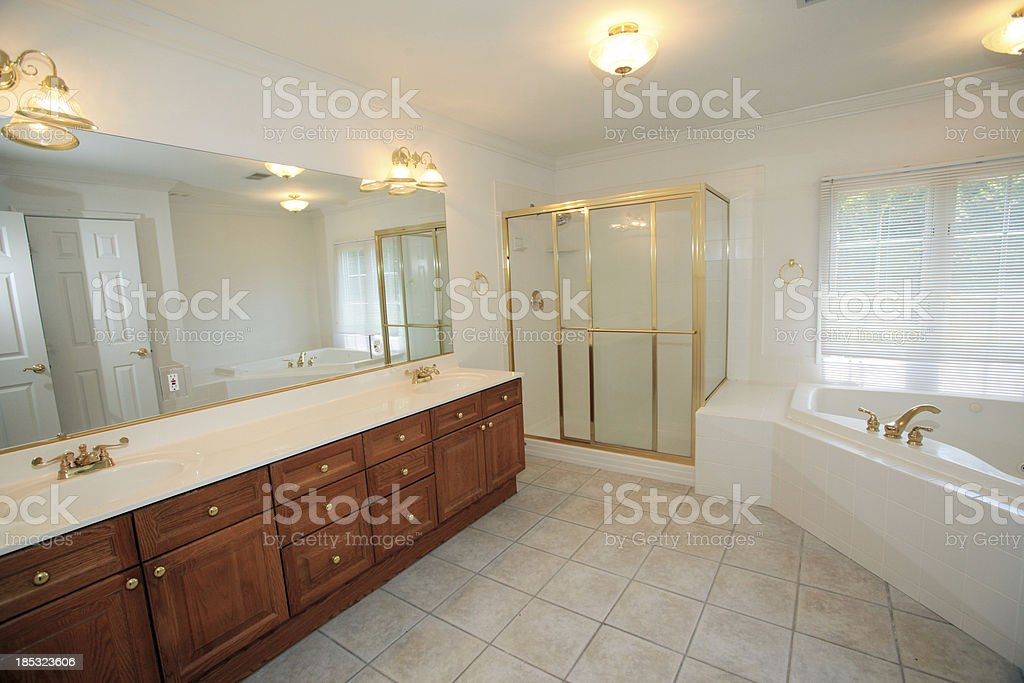 Master Bathroom in Modern Luxury Home stock photo