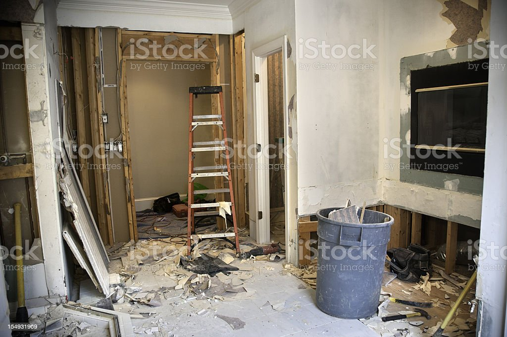Master Bathroom Remodeling: Demolition Phase royalty-free stock photo