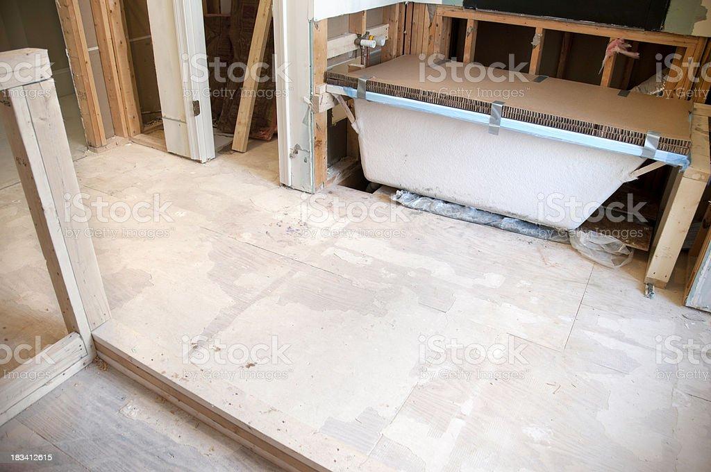 Master Bathroom Remodeling: Framing and Bath tub installation stock photo