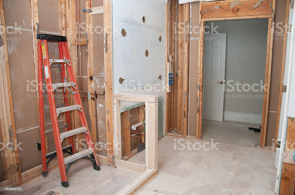 Master Bathroom Remodeling: Framing Phase stock photo