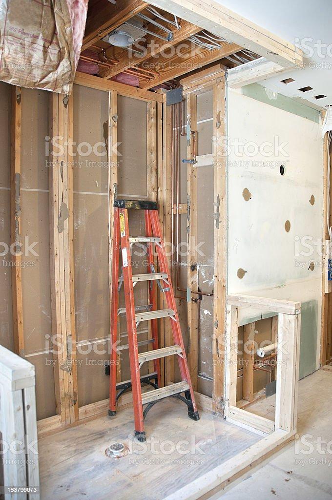 Master Bathroom Remodeling: Newly Framed Shower royalty-free stock photo