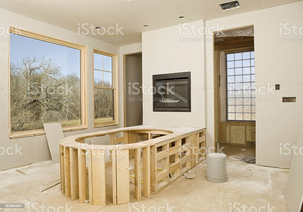 Master Bathroom with New Sheetrock and Tub Frame stock photo
