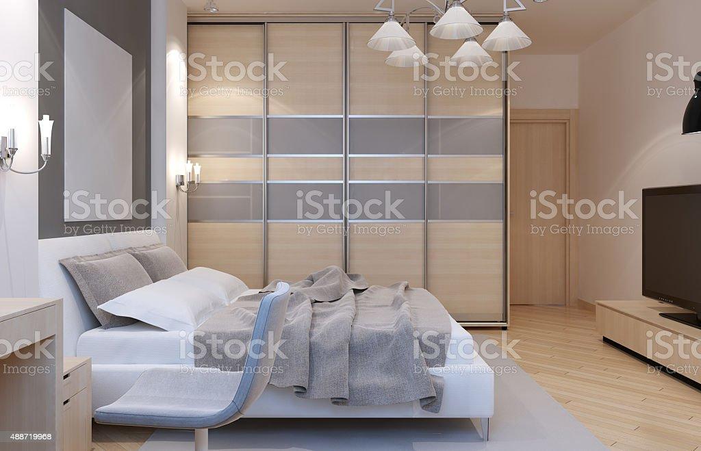 Master bedroom art deco style stock photo