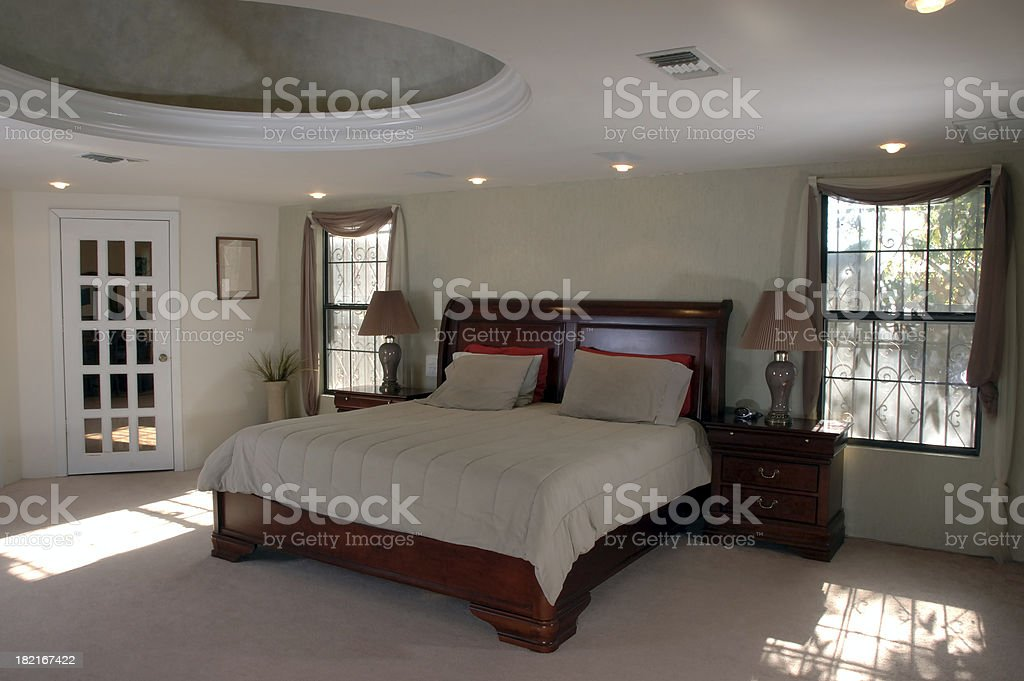 Master bedroom direct sunlite royalty-free stock photo
