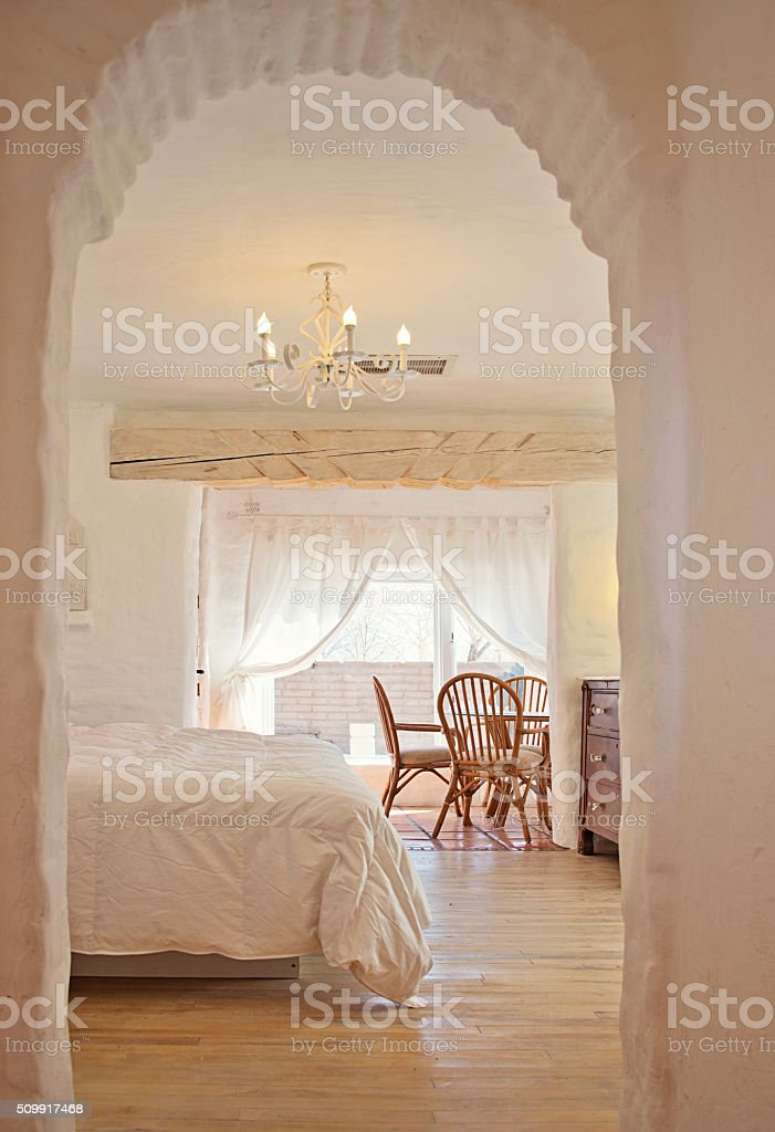 Master Bedroom in an Luxury Estate Adobe Santa Fe Home stock photo