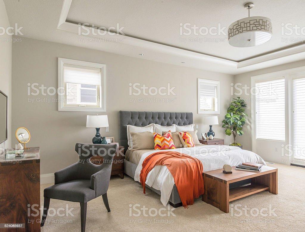 Master Bedroom in Luxury Home stock photo
