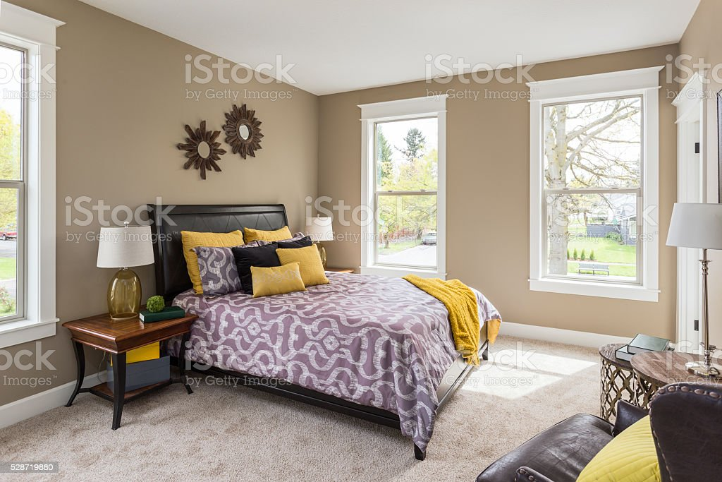 Master Bedroom in New Home stock photo