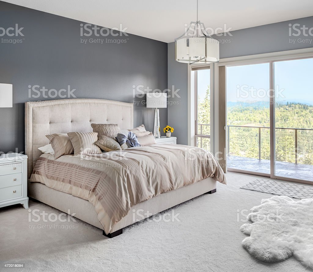 Master Bedroom in New Luxury Home stock photo