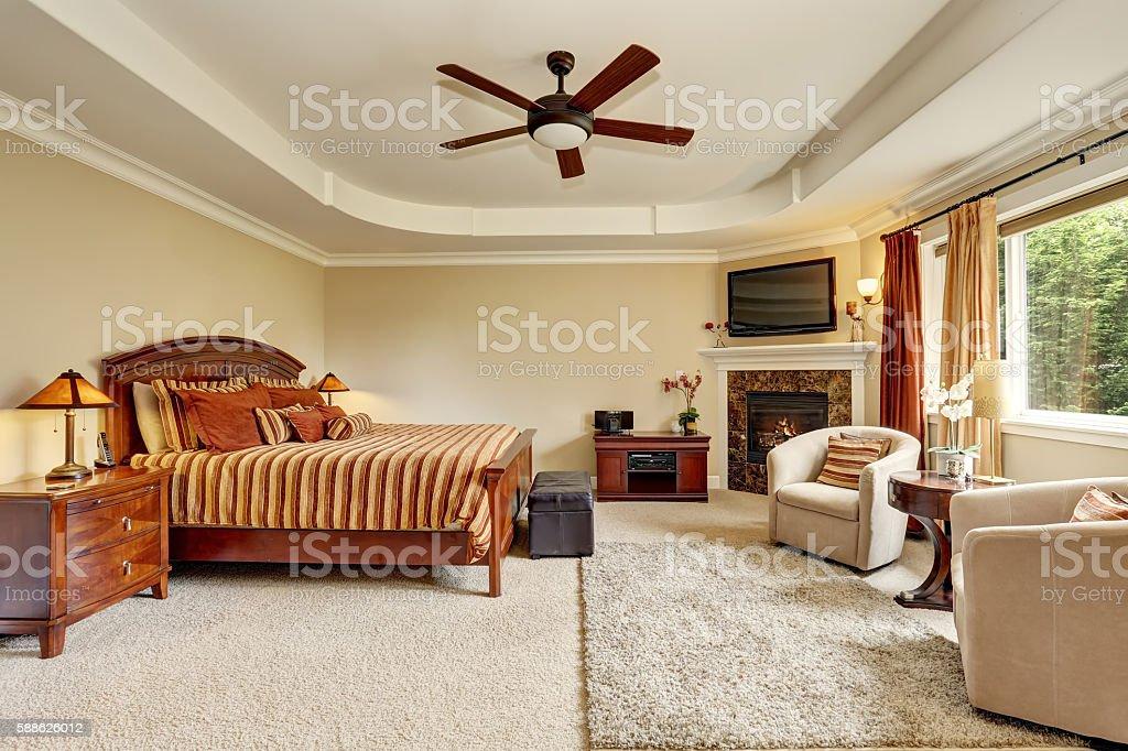 Master bedroom interior with corner fireplace stock photo