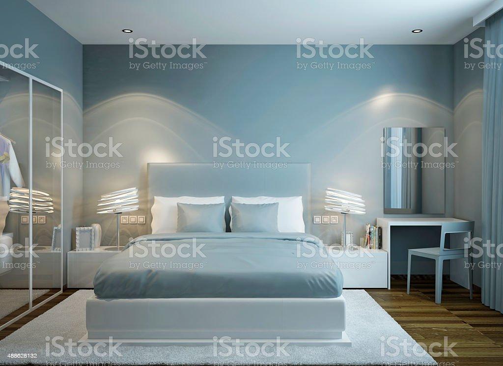 Master bedroom scandinavian style stock photo