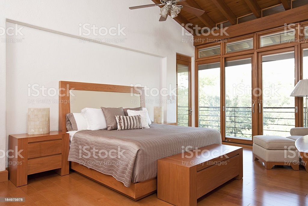 Master bedroom with view royalty-free stock photo