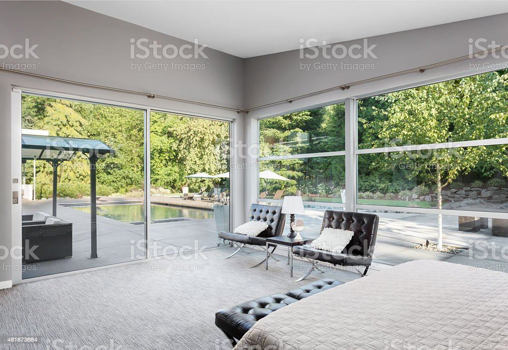Master Bedroon in New Luxury Home stock photo