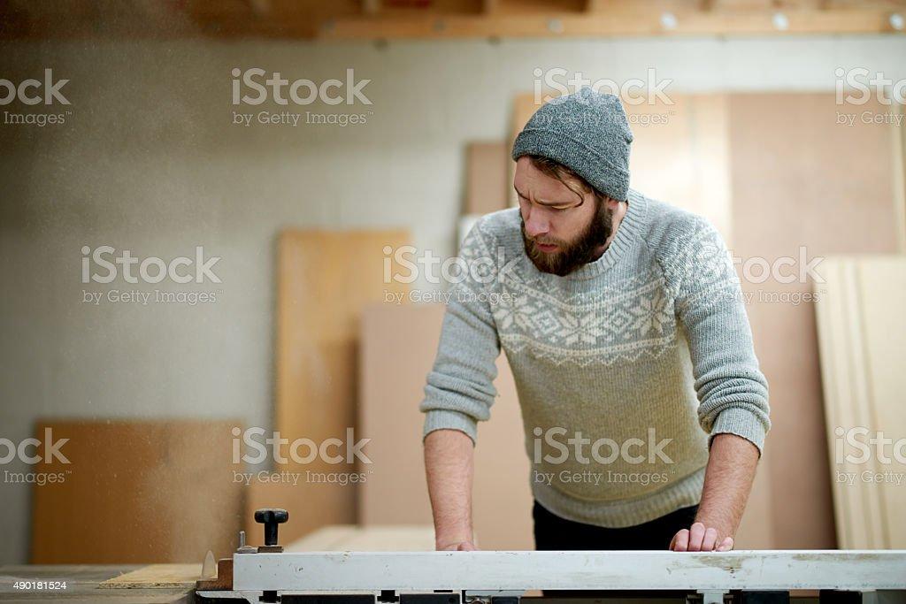 Master carpenter at work stock photo