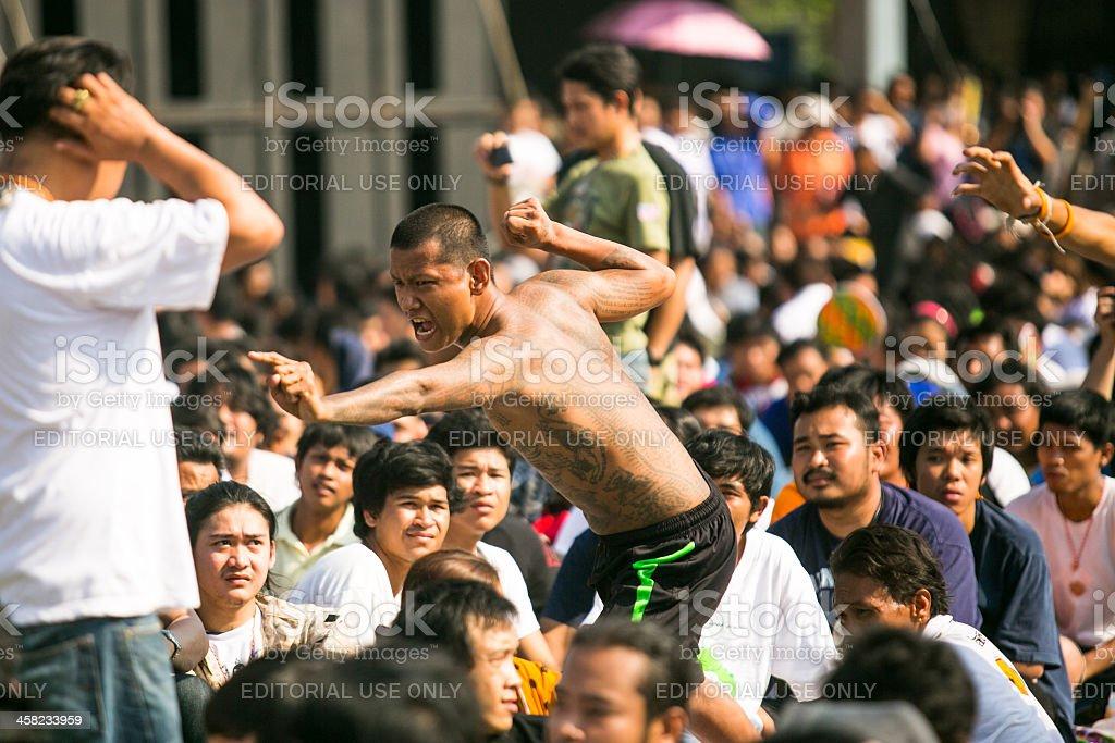 Master Day Ceremony at Bang Pra monastery in Thailand royalty-free stock photo