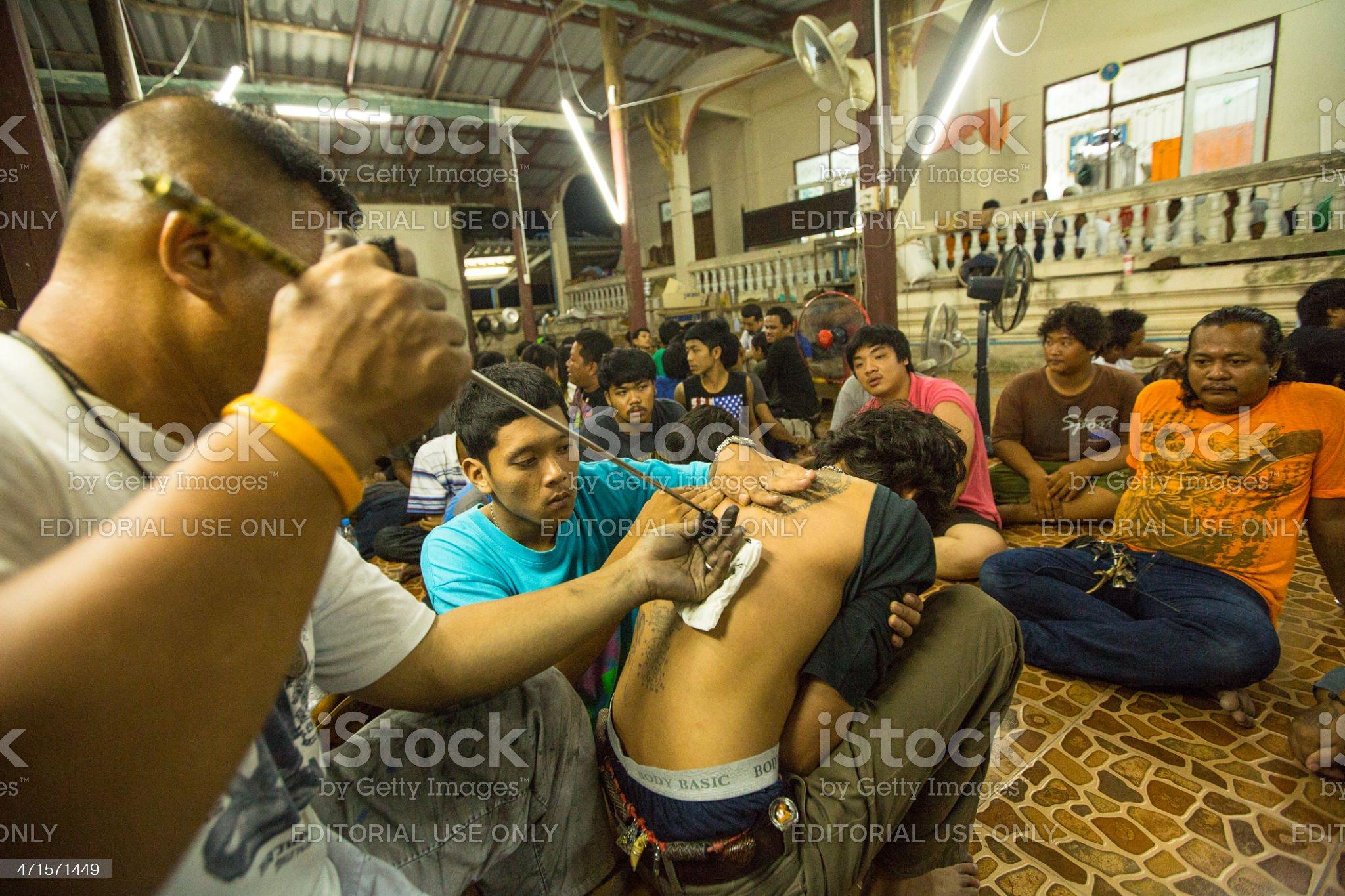 Master Day Ceremony in Wat Bang Pra monastery. royalty-free stock photo