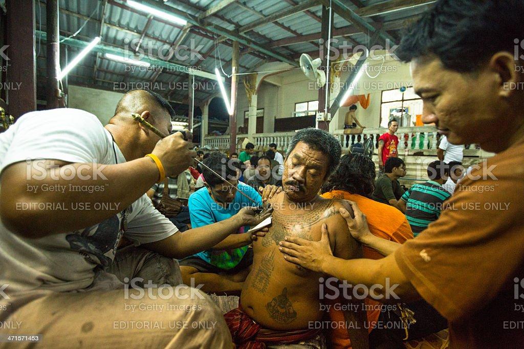 Master Day Ceremony in Wat Bang Pra monastery. stock photo