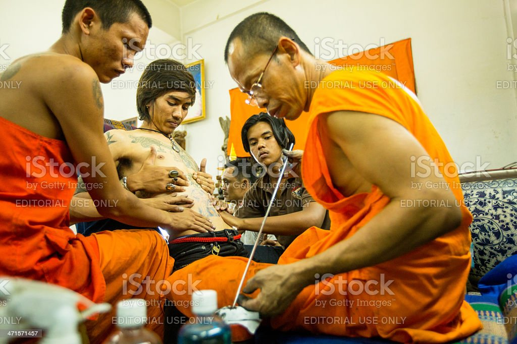 Master Day Ceremony in Wat Bang Pra monastery. royalty-free stock photo
