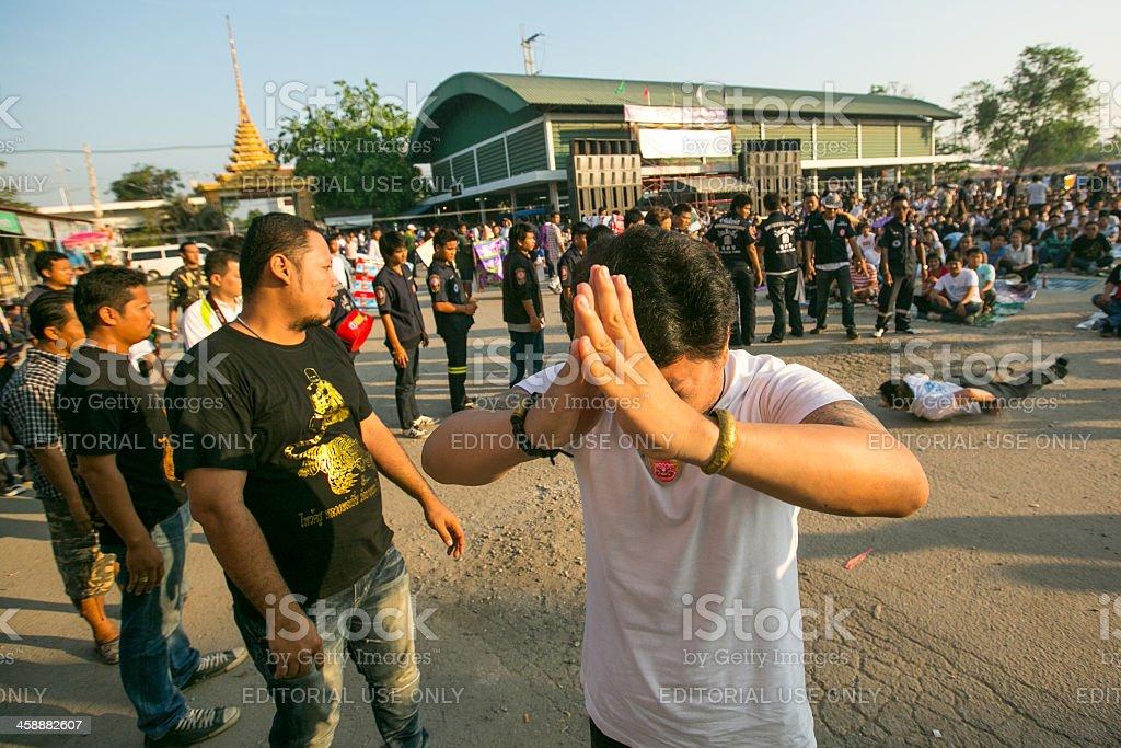 Master Day Ceremony in Wat Bang Pra monastery, Thailand stock photo