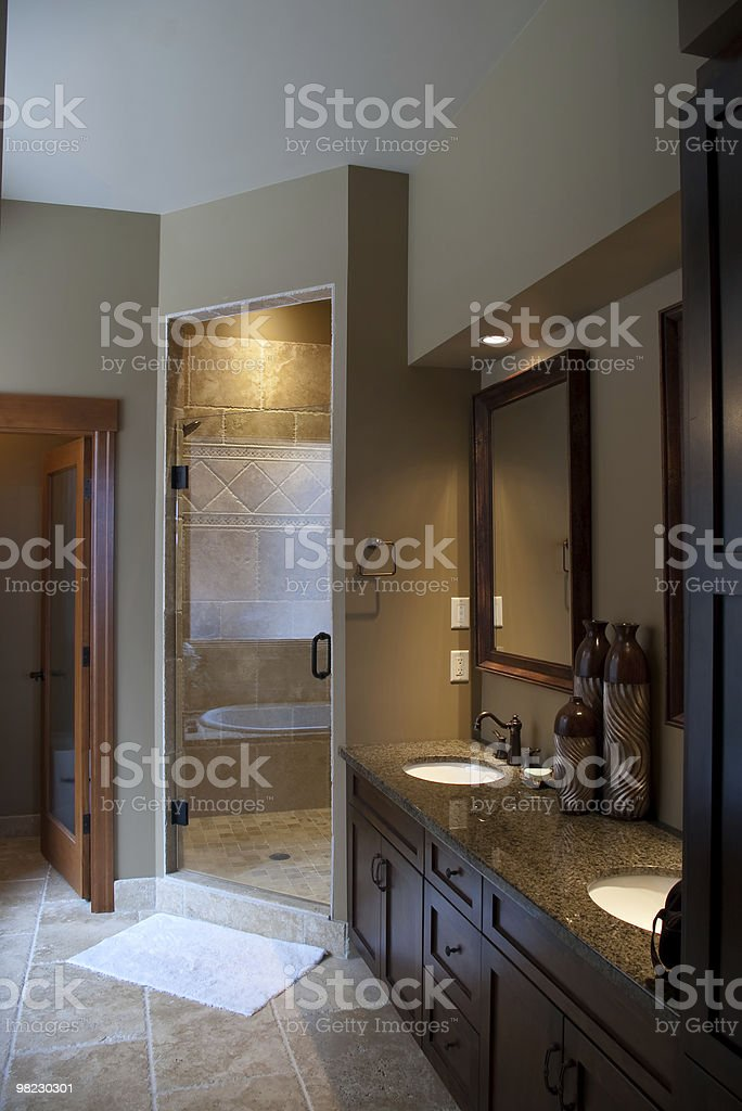 Master Ensuite Bathroom with shower stock photo