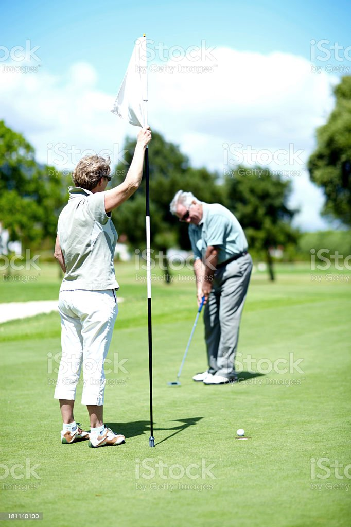 Master of the hole-in-one royalty-free stock photo