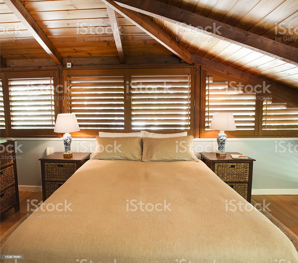 Master timber bedroom stock photo