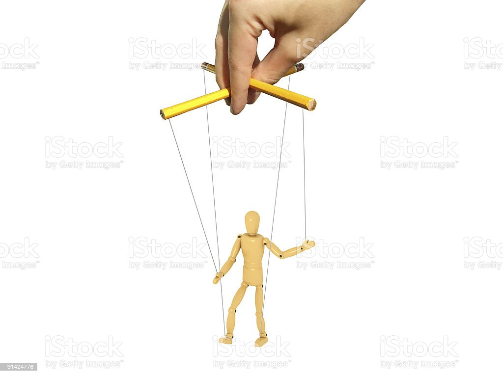 Master with puppet stock photo