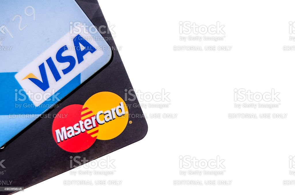 MasterCard and Visa credit cards isolated on white background stock photo