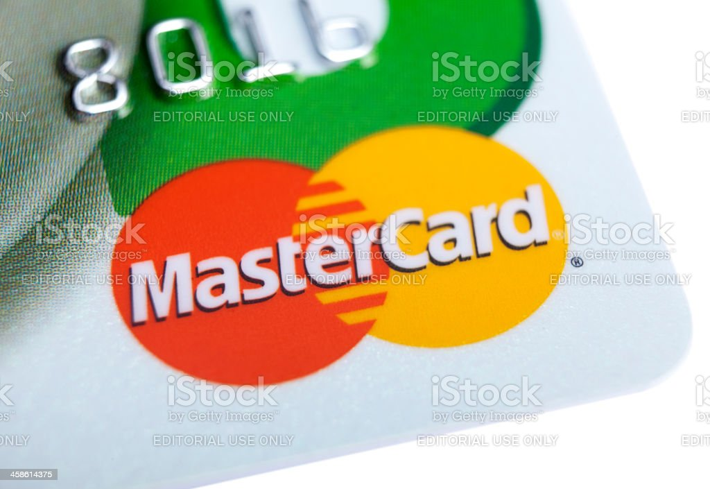MasterCard logo on credit card stock photo
