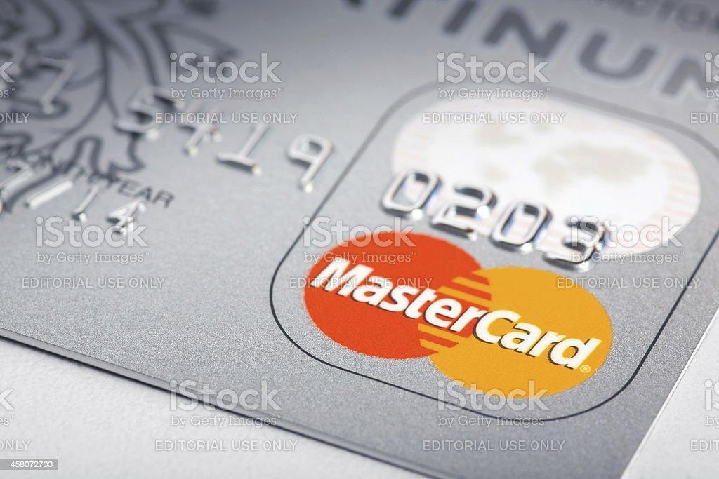 Mastercard platinum credit cards stock photo