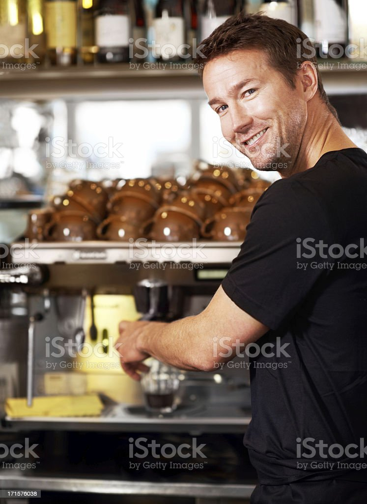 Masterful when it comes to coffee royalty-free stock photo