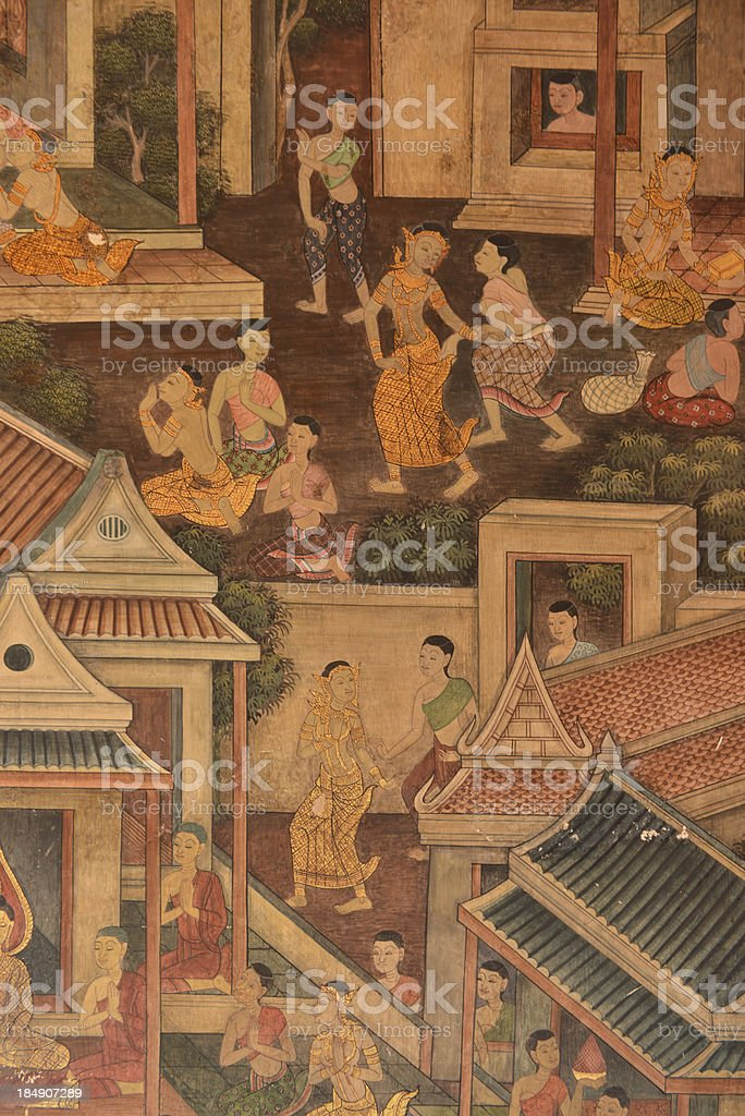 masterpiece of traditional Thai style painting art old about Buddha royalty-free stock photo