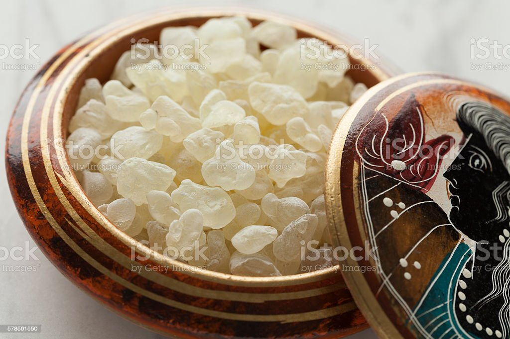 Mastic tears of Chios in a bowl stock photo