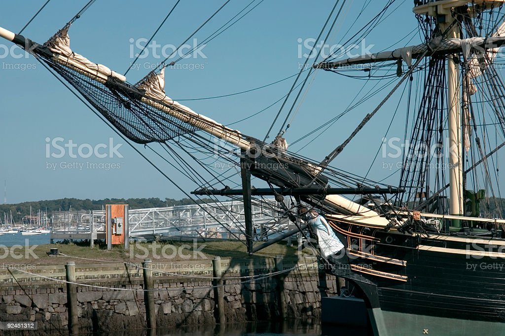 Masts and prow stock photo